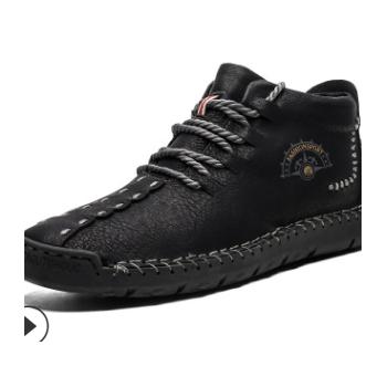 厂家直销2019冬季男式马丁靴男鞋冬季加绒外贸大码高帮鞋男保暖靴
