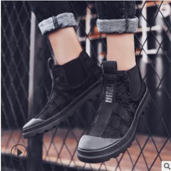 冬季帆布马丁靴男士个性印花高帮鞋潮流时尚男靴韩版百搭休闲男鞋