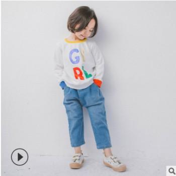 童装定制18秋冬童趣儿童字母彩印卫衣女童毛圈上衣
