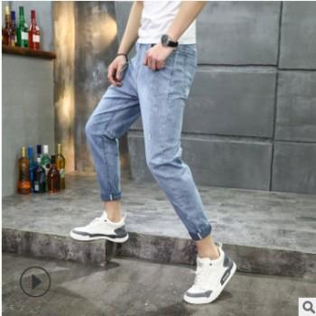 2020春夏新款男士牛仔裤老爹裤宽松破洞牛仔裤男弹力锥版一件代发