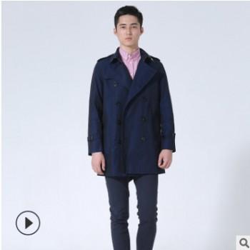 潮流新款男装欧美时尚修身中长款双排扣经典风衣