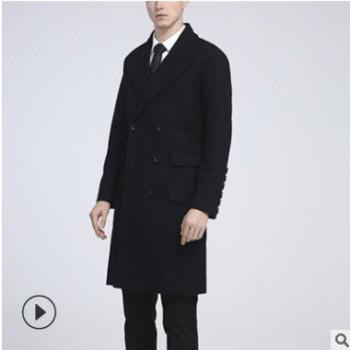 欧美修身双排扣毛呢大衣 厂家直销毛呢双排扣修身型大衣