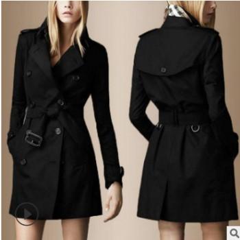 A148/新款女装春秋装明星同款双排扣中长款风衣外套