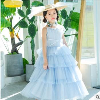 儿童走秀礼服摄影服装T舞台演出蓝色公主裙一件代发代理定制服饰