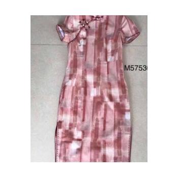 2020夏季新款苎麻双层短袖中长款修身立领手工旗袍