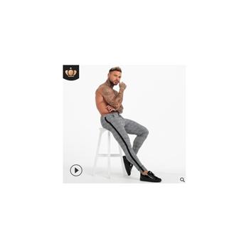 跨境专供欧美街头爆款时尚潮牌休闲长裤男士小脚格子长裤高弹性