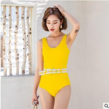 2019新款连体比基尼泳装女士纯色圆领露肩美背度假温泉游泳衣