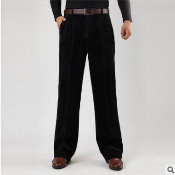 冬季男式粗条绒休闲裤中老年男士灯芯绒双褶高腰宽松厚款条绒长裤