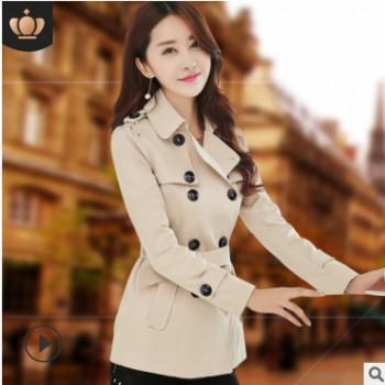 2020春秋装新款女装韩版双排扣短款风衣女修身女式流行气质外套潮