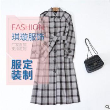 秋冬季新款女士风衣 格子灰色定制风衣长款腰带风衣外套可批发