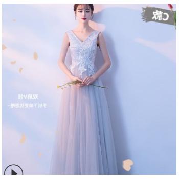 伴娘服冬季2020新款长款灰色伴娘礼服修身姐妹团婚礼显瘦晚礼服女