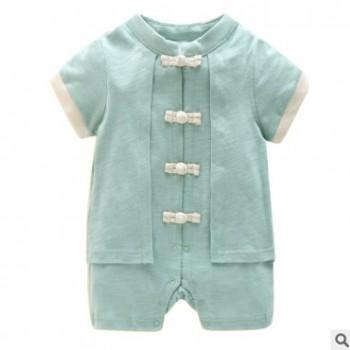 一岁宝宝中式礼服婴儿中国风衣服夏季男童唐装纯棉新生儿连体哈衣