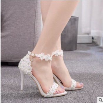 9厘米外贸高跟凉鞋伴娘婚礼鞋一字扣带蕾丝串珠细跟鱼嘴罗马凉鞋