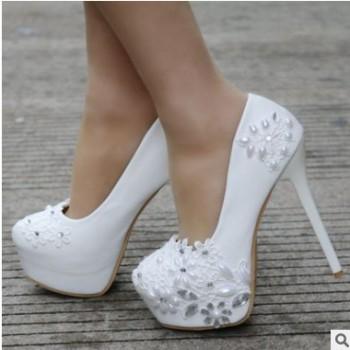 白色蕾丝高跟鞋 婚鞋 水钻珍珠鞋 外贸大码 细跟防水台鞋 14LL