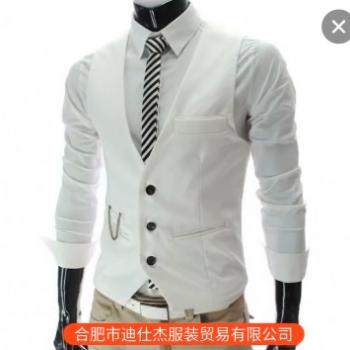 含链子批发供应男装修身V领马甲多色入新款韩版西装马甲免烫纯色