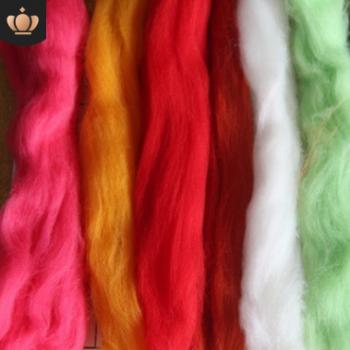 厂家纯正66S彩色羊毛条羊毛毡戳戳乐材料包批发 针毡湿毡戳戳乐