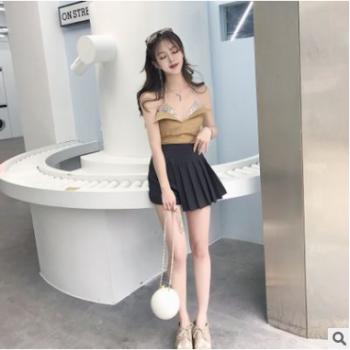 早秋新款2018韩版百搭通勤修身显瘦倾斜褶皱半身裙
