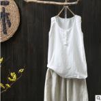 素衣巷夏季新款大码女士背心麻棉无袖背心文艺范休闲外穿上衣