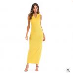 跨境欧美亚马逊eBay爆款女装连衣裙春夏季挂肩v领修身连衣
