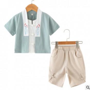 中国风夏季纯棉儿童汉服男童套装民族风宝宝假两件棉麻唐装两件套