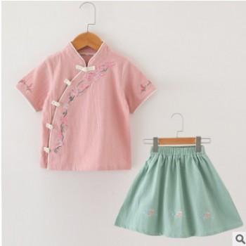 中国风女童夏季新款纯棉超仙儿汉服套装民族女童复古盘扣仙女裙子