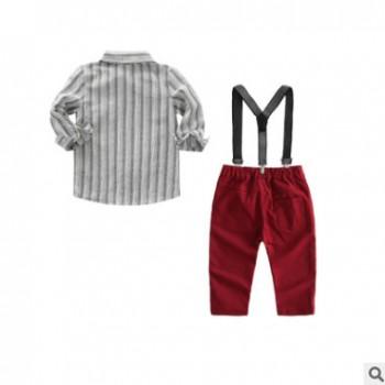 童装2019年春季新款儿童套装男童长袖条纹绅士领结衬衫背带裤套装