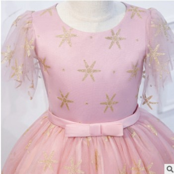 儿童礼服公主裙粉色女童钢琴演出服生日小花童婚纱裙主持人晚礼服