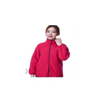 冬季女新款中老年大码休闲外套中年摇粒绒净色开衫上衣 一件代发