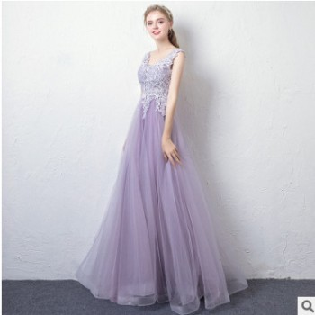 礼服裙女2019新款紫色高贵双肩V领晚宴长款聚会伴娘主持人晚礼服