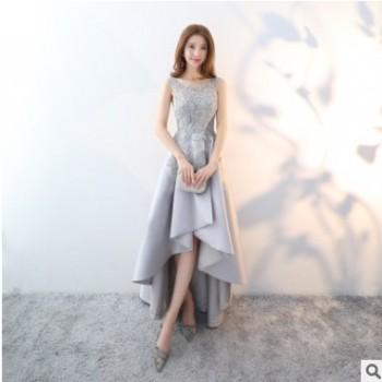 宴会晚礼服女2019春新款灰色前短后长款派对小礼服连衣裙端庄大气