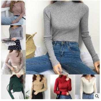 厂家直销秋冬毛衣女打底衫 时尚修身坑条女式毛衣 地摊女士毛衫