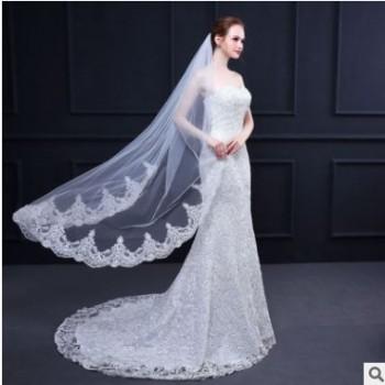 新款婚纱头纱 欧美精美车骨蕾丝花边短款金属发梳新娘婚饰配件