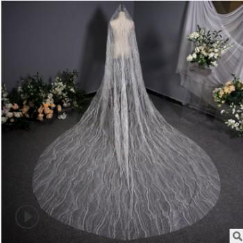韩式婚纱纯白色长款奢华大头纱 抖音头纱头饰仙气长拖尾新娘头纱
