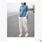 耳光超赞版型适度宽松显瘦净色亚麻休闲裤哈伦裤九分裤女2019夏装