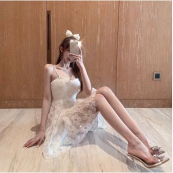 2020夏季新款水钻镂空花朵刺绣蕾丝吊带裙初恋仙女法式连衣裙礼服