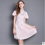2019新款女装夏季荷叶袖复古立领网纱刺绣改良旗袍修身百褶连衣裙