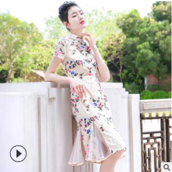 2019新款夏装女式鱼尾裙短袖立领美人鱼连衣裙网纱改良旗袍长裙子