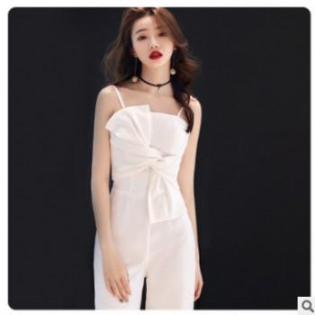 2020派对小礼服长款新款夏季吊带名媛宴会主持晚礼服聚会洋装礼服