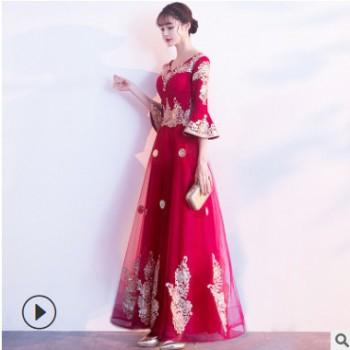 中式敬酒服新娘结婚2020新款夏季中国风长袖酒红色答谢宴长款礼服
