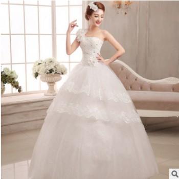 2020新款新娘单肩大码显瘦齐地绑带婚纱 简约韩式结婚婚纱礼服女