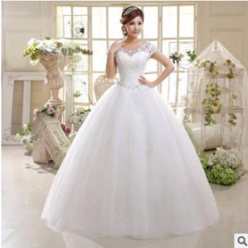 新款婚纱礼服2020韩版双肩修身结婚大码新娘蕾丝绑带影楼拍照婚纱