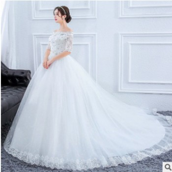 2020新款婚纱礼服 简约白色韩式新娘一字肩中袖修身显瘦拖尾婚纱