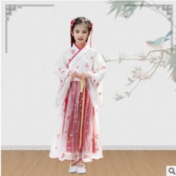 汉服女童中国风超仙2020春夏旗袍长袖唐装儿童文艺古装公主襦裙