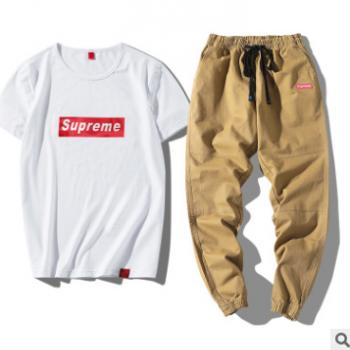 夏季新款男士休闲运动套装韩版修身九分裤套装纯棉短袖T恤潮