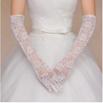 演出红色手套/舞蹈手套/婚纱礼服配件 新娘手套/长手套/蕾丝手套