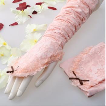 太阳花防晒手套春夏季女士蕾丝防晒护臂冰袖套防紫外线透气长薄款