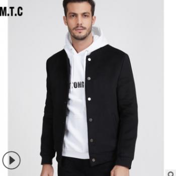 羊毛呢外套男秋冬季羊绒百搭夹克男装中年加厚男士棒球领爸爸装