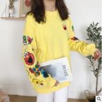 秋季新款韩版减龄百搭袖子卡通印花纯棉宽松圆领卫衣女装uo080621