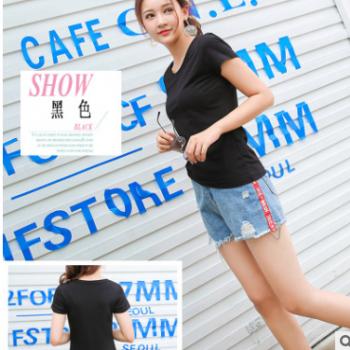 定制加工莫代尔女装T夏季新款韩版圆领t恤短袖显瘦百搭打底衫上衣