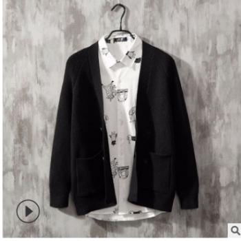 春秋季新品男士针织开衫外套韩版修身纯色长袖毛衣针织衫批发